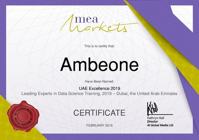 Ambeone's Certification Training for Artificial Intelligence